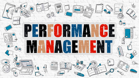 Performance Management - Multicolor Concept with Doodle Icons Around on White Brick Wall Background. Modern Illustration with Elements of Doodle Design Style. Stock Photo