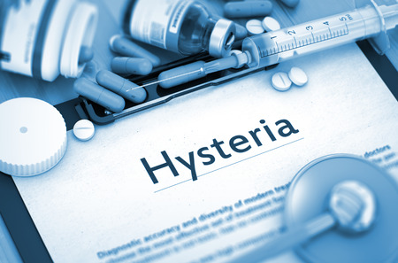hysteria: Hysteria - Printed Diagnosis with Blurred Text. Hysteria - Medical Report with Composition of Medicaments - Pills, Injections and Syringe. Toned Image. 3D Render. Stock Photo