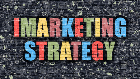 monetizing: Imarketing Strategy - Multicolor Concept on Dark Brick Wall Background with Doodle Icons Around. Modern Illustration with Elements of Doodle Style. Imarketing Strategy on Dark Wall. Stock Photo