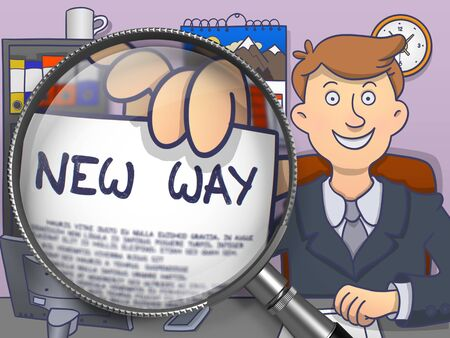 illustrate: New Way on Paper in Officemans Hand to Illustrate a Business Concept. Closeup View through Magnifier. Colored Doodle Style Illustration. Stock Photo