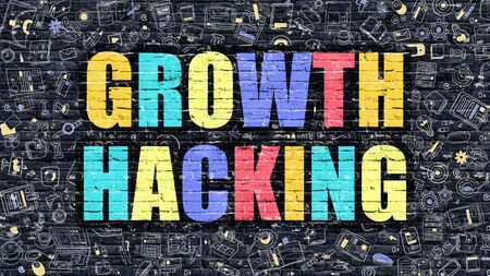 hacking: Growth Hacking Drawn on Dark Wall. Stock Photo