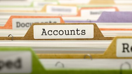 accounts payable: Accounts Concept on Folder Register in Multicolor Card Index. Closeup View. Selective Focus. 3D Render. Stock Photo