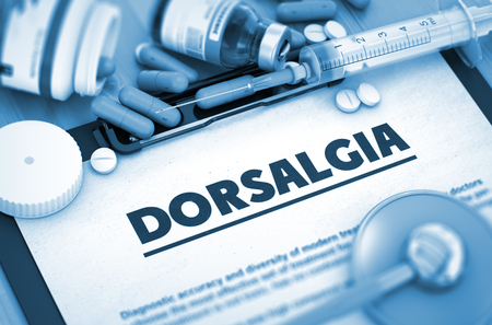 spondylitis: Dorsalgia, Medical Concept with Selective Focus. Stock Photo