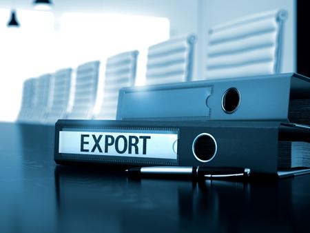 Exporteren - Ringband op zwart bureau. Export - zakelijke illustratie. Export - bedrijfsconcept op gestemde afbeelding. 3D Render.