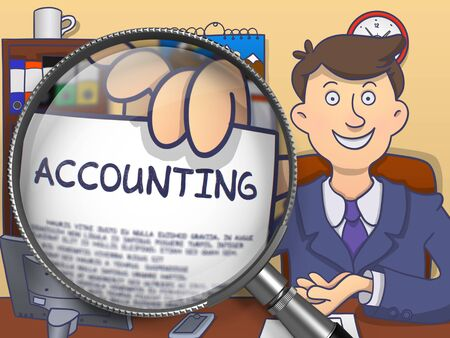 stocktaking: Accounting. Officeman Showing Text on Paper through Lens. Multicolor Doodle Style Illustration. Stock Photo