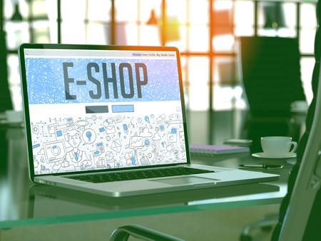 eshop: E-Shop - Closeup Landing Page in Doodle Design Style on Laptop Screen. On Background of Comfortable Working Place in Modern Office. Toned, Blurred Image. 3D Render. Stock Photo