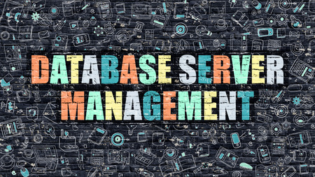 systematization: Multicolor Concept - Database Server Management on Dark Brick Wall with Doodle Icons. Database Server Management Business Concept. Database Server Management on Dark Wall. Stock Photo