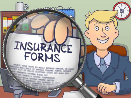 paper forms: Man Welcomes in Office and Showing a Paper with Concept Insurance Forms. Closeup View through Magnifying Glass. Multicolor Doodle Style Illustration.