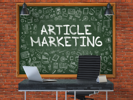 article marketing: Article Marketing - Handwritten Inscription by Chalk on Green Chalkboard with Doodle Icons Around. Business Concept in the Interior of a Modern Office on the Red Brick Wall Background. 3D. Stock Photo