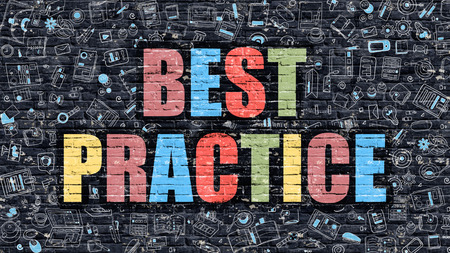 best of: Best Practice Concept. Modern Illustration. Multicolor Best Practice Drawn on Dark Brick Wall. Doodle Icons. Doodle Style of Best Practice Concept. Best Practice on Wall.
