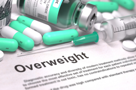 tubby: Diagnosis - Overweight. Medical Report with Composition of Medicaments - LIght Green Pills, Injections and Syringe. Blurred Background with Selective Focus. 3D Render.