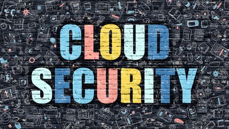 ddos: Cloud Security. Multicolor Inscription on Dark Brick Wall with Doodle Icons. Cloud Security Concept in Modern Style. Doodle Design Icons. Cloud Security on Dark Brickwall Background. Stock Photo