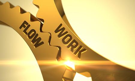 Work Flow on Mechanism of Golden Cogwheels with Lens Flare. Work Flow - Illustration with Glow Effect and Lens Flare. Work Flow - Technical Design. Work Flow - Concept. 3D Render.