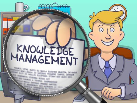 cognizance: Businessman Sitting in Office and Holds Out a Paper with Knowledge Management concept. Closeup View through Magnifier. Colored Modern Line Illustration in Doodle Style.