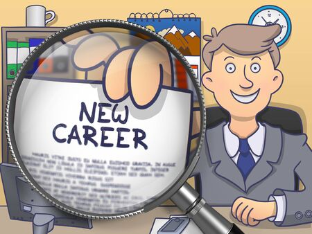 probation: New Career through Magnifier. Business Man Shows Paper with Text. Closeup View. Multicolor Doodle Illustration. Stock Photo
