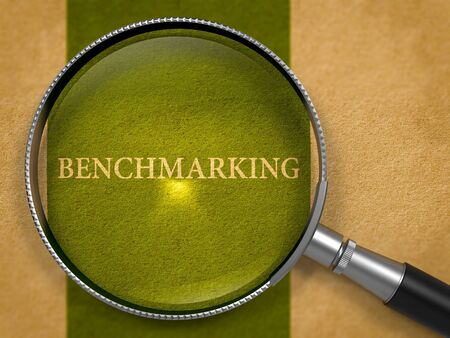 benchmarking: Benchmarking Concept through Magnifier on Old Paper with Dark Green Vertical Line Background. 3D Render. Stock Photo