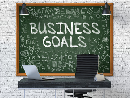 Hand Drawn Business Goals on Green Chalkboard. Modern Office Interior. White Brick Wall Background. Business Concept with Doodle Style Elements. 3D.