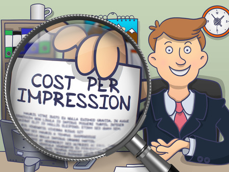 advertiser: Man Showing Concept on Paper - Cost Per Impression. Closeup View through Magnifier. Multicolor Modern Line Illustration in Doodle Style.