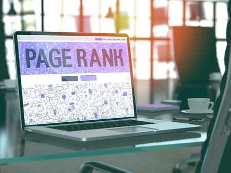 page rank: Page Rank Concept - Closeup on Landing Page of Laptop Screen in Modern Office Workplace. Toned Image with Selective Focus. 3D Render. Stock Photo