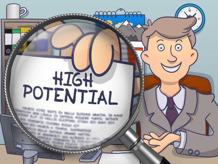 Alto potenziale attraverso la lente. Uomo d'affari mostrando carta con Concept. Primo Piano Vista. Multicolor Doodle illustrazione.