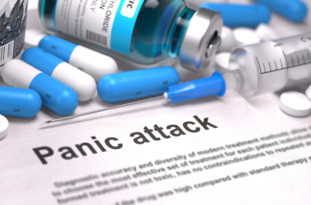 panic attack: Diagnosis - Panic attack. Medical Report with Composition of Medicaments - Blue Pills, Injections and Syringe. Blurred Background with Selective Focus. 3D Render.
