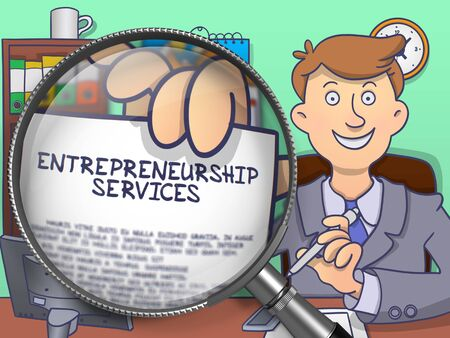 entrepreneurship: Entrepreneurship Services. Man Shows Paper with Business Offer through Magnifying Glass. Colored Doodle Illustration. Stock Photo