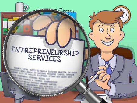 Ondernemerschap Services. Man Shows papier met Business uitbrengen door vergrootglas. Gekleurde Doodle illustratie.