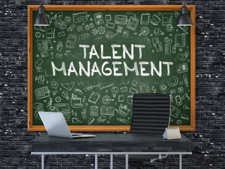 talent management: Talent Management Concept Handwritten on Green Chalkboard with Doodle Icons. Office Interior with Modern Workplace. Dark Brick Wall Background. 3D.