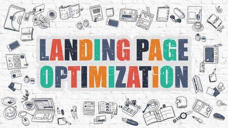 meta analysis: Landing Page Optimization. Landing Page Optimization Drawn on White Wall. Doodle Design Style of Landing Page Optimization. Line Style Illustration. White Brick Wall.