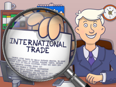 holds: International Trade. Officeman Holds Out Paper with Business Concept through Lens. Multicolor Doodle Illustration.