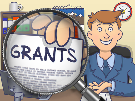 bestowal: Officeman Holds Out a Paper with Inscription Grants. Closeup View through Magnifying Glass. Colored Doodle Style Illustration.