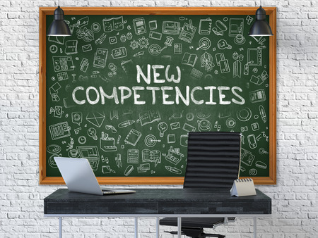 competencies: Green Chalkboard with the Text New Competencies Hangs on the White Brick Wall in the Interior of a Modern Office. Illustration with Doodle Style Elements. 3D.