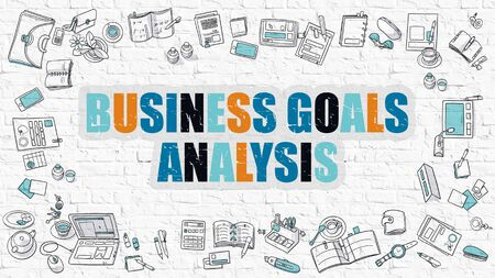weaknesses: Business Goals Analysis Concept. Business Goals Analysis Drawn on White Wall. Business Goals Analysis in Multicolor. Modern Style Illustration. Line Style Illustration. White Brick Wall.