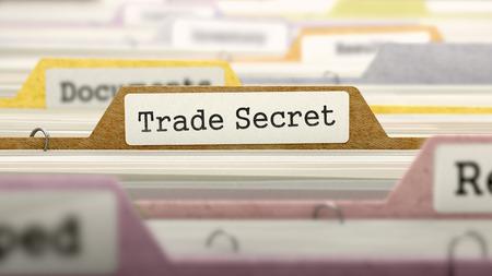 Trade Secret - Folder Register Name in Directory. Colored, Blurred Image. Closeup View. 3D Render.