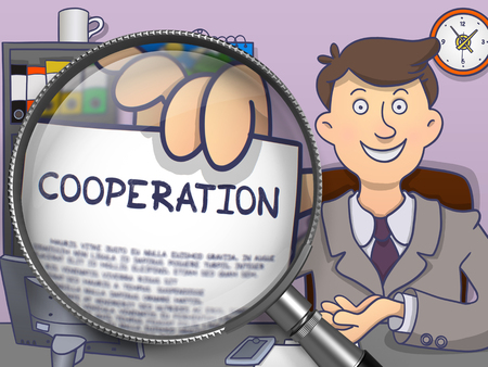 la union hace la fuerza: Cooperation on Paper in Mans Hand to Illustrate a Business Concept. Closeup View through Magnifying Glass. Colored Doodle Style Illustration.