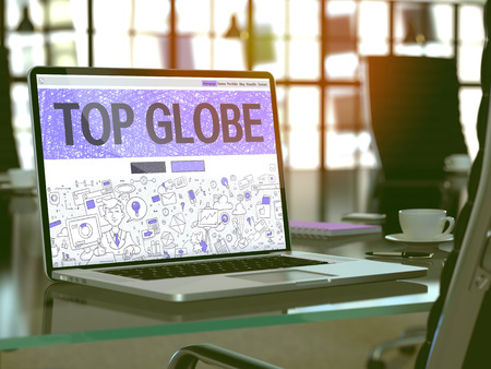 middleware: Top Globe Concept Closeup on Landing Page of Laptop Screen in Modern Office Workplace. Toned Image with Selective Focus. 3D Render.