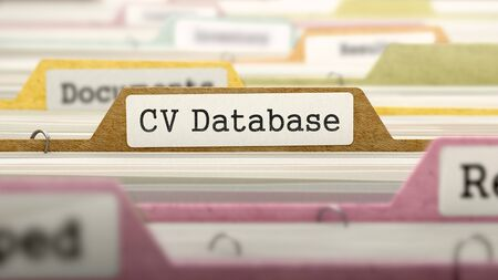 database: CV Database Concept on File Label in Multicolor Card Index. Closeup View. Selective Focus. 3D Render.