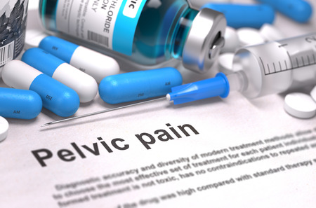 Pelvic Pain - Printed Diagnosis with Blurred Text. On Background of Medicaments Composition - Blue Pills, Injections and Syringe. 3D Render. Stock Photo
