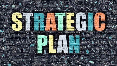 strategic plan: Strategic Plan Concept. Modern Illustration. Multicolor Strategic Plan Drawn on Dark Brick Wall. Doodle Icons. Doodle Style of  Strategic Plan Concept. Strategic Plan on Wall. Stock Photo