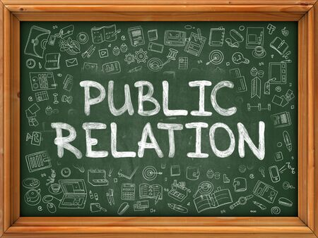 relation: Public Relation - Hand Drawn on Green Chalkboard with Doodle Icons Around. Modern Illustration with Doodle Design Style. Stock Photo