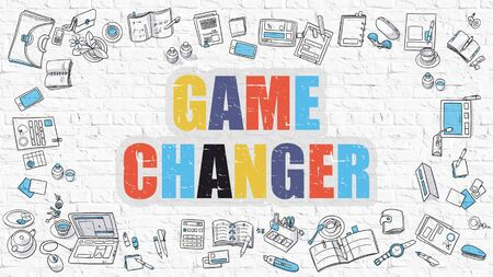 brickwall: Game Changer. Multicolor Inscription on White Brick Wall with Doodle Icons Around. Game Changer Concept. Modern Style Illustration with Doodle Design Icons. Game Changer on White Brickwall Background.