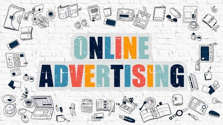 online advertising: Online Advertising. Multicolor Inscription on White Brick Wall with Doodle Icons Around. Modern Style Illustration with Doodle Design Icons. Online Advertising on White Brickwall Background. Stock Photo