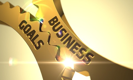 Business Goals - Technical Design. Business Goals on Golden Metallic Gears. Business Goals Golden Gears. Business Goals - Illustration with Glow Effect and Lens Flare. Business Goals - Concept. 3D.