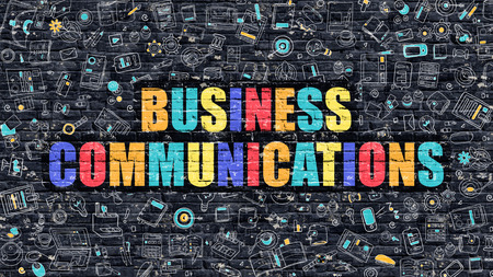 ethic: Multicolor Concept - Business Communications on Dark Brick Wall with Doodle Icons. Business Communications Business Concept. Business Communications on Dark Wall. Stock Photo