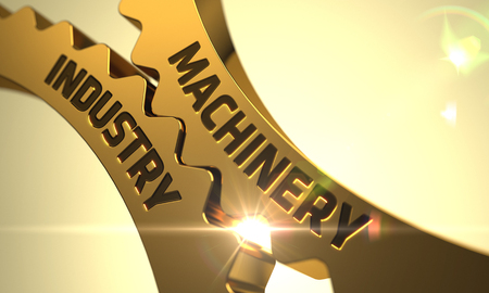 enginery: Machinery Industry on the Mechanism of Golden Cog Gears with Lens Flare. Machinery Industry - Concept. Machinery Industry on Golden Gears. Golden Cogwheels with Machinery Industry Concept. 3D. Stock Photo