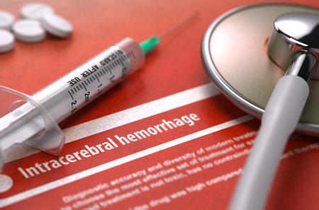 hemorragia: Hemorragia intracerebral - Impreso Diagn�stico sobre fondo naranja y composici�n m�dica - estetoscopio, p�ldoras y la jeringa. Concepto m�dico. Imagen borrosa. Render 3D.