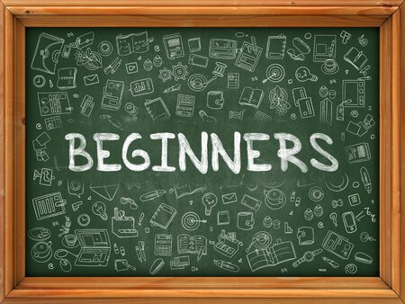 newbie: Beginners - Handwritten Inscription by Chalk on Green Chalkboard with Doodle Icons Around. Modern Style with Doodle Design Icons. Beginners on Background of  Green Chalkboard with Wood Border
