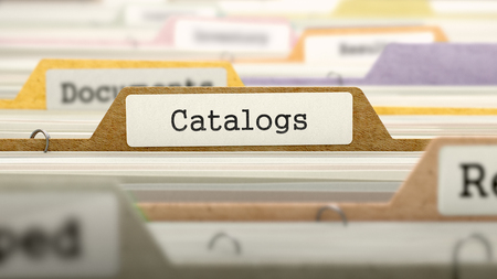 directory: Catalogs - Folder Register Name in Directory. Colored, Blurred Image. Closeup View. 3D Render. Stock Photo