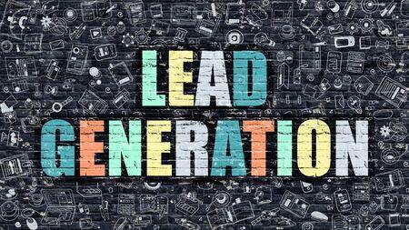 generations: Lead Generation Drawn on Dark Wall. Lead Generation in Multicolored. Lead Generation Concept. Modern Illustration in Doodle Design of Lead Generation.