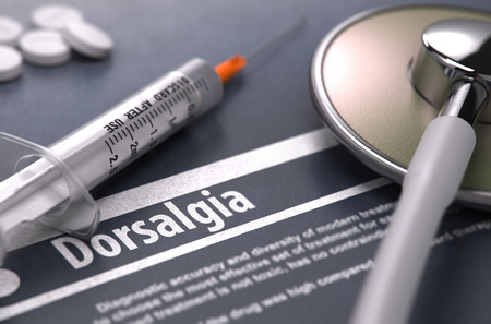 dorsalgia: Dorsalgia - Printed Diagnosis on Grey Background with Blurred Text and Composition of Pills, Syringe and Stethoscope. Medical Concept. Selective Focus. 3D Render. Stock Photo